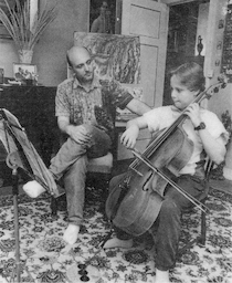My father working me hard prior to an adventurous travel to England to audition for a spot at The Yehudi Menuhin School. My father is a musician, one whom I had the good fortune to learn from and work with. I remember him barely practicing the violin, always working and drawing, painting and sculpting unconditionally. He played the violin with excellent phrasing and was one of the finest violinists I have ever encountered. As he got older, the sweetness of his singing tone tore me up. A true artist.