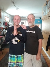 Together with the always charismatic Joel Pier following a Bikram session. It was in my early that I began practising yoga, introduced to me by Yehudi Menuhin. Through my affiliation with many recognized yoga teachers a door was open to participate in the spiritual tradition of 'Sweat Lodge's' piloted by Native Americans